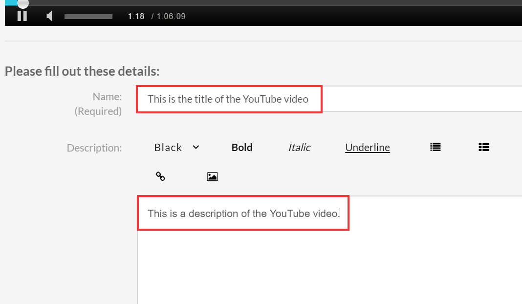 Edit the YouTube entry name, description and tags.