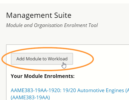 The add module to workload button is at the top of this page.