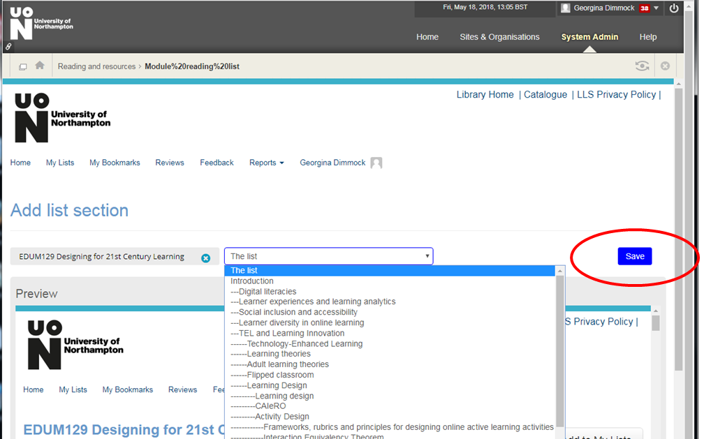 Drop down menu in NILE to select module