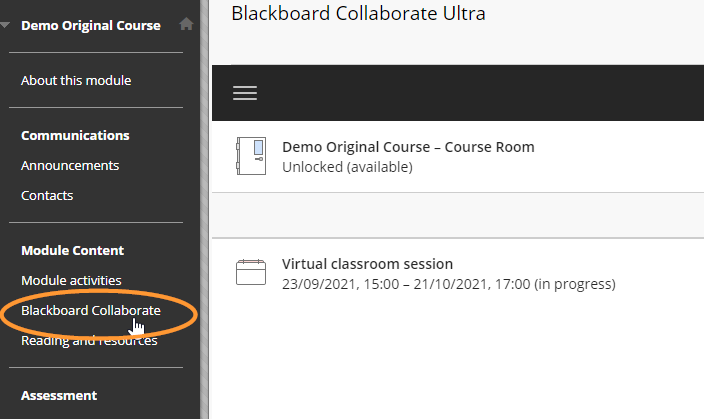 The Blackboard Collaborate link is in the main course menu and is eigth on the list by default