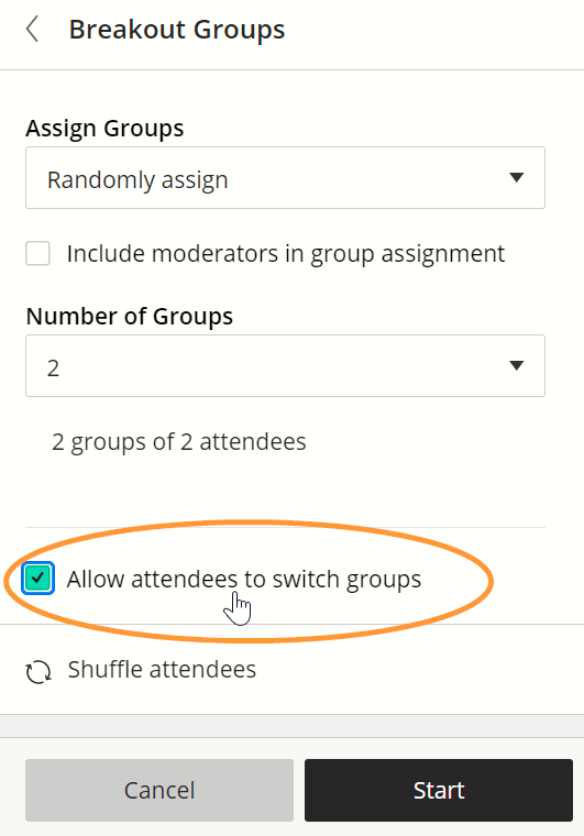 The checkbox is one of the last options in the form when setting up breakout groups.