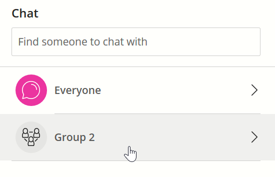The Everyone and Group channels are separate selections