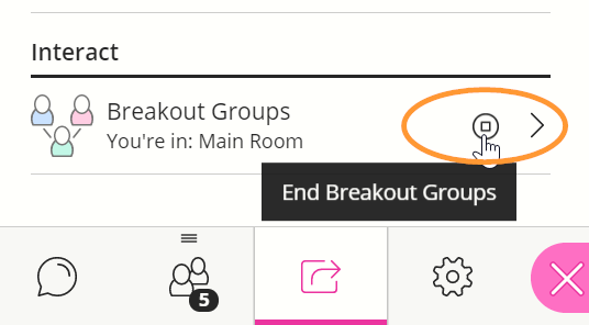 The stop icon is labelled End Breakout Groups