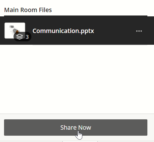 The file needs to be selected from the list before the share now button becomes active