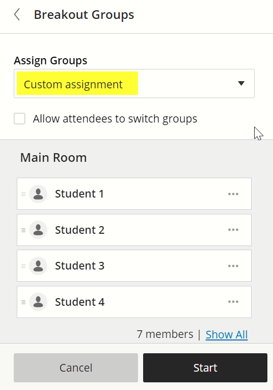 Custom assignment is the second option in the popup menu under the heading Assign Groups.