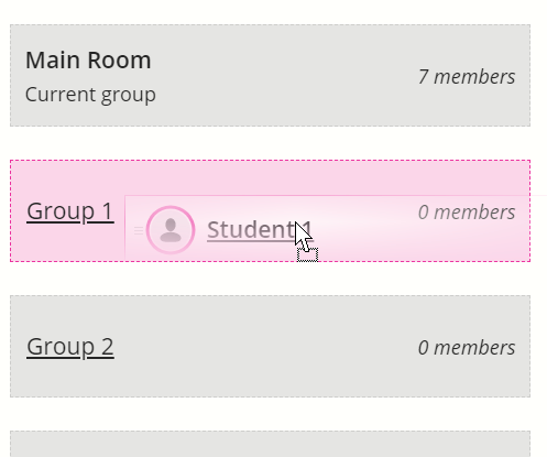 Group headings become dropboxes when dragging an attendee name