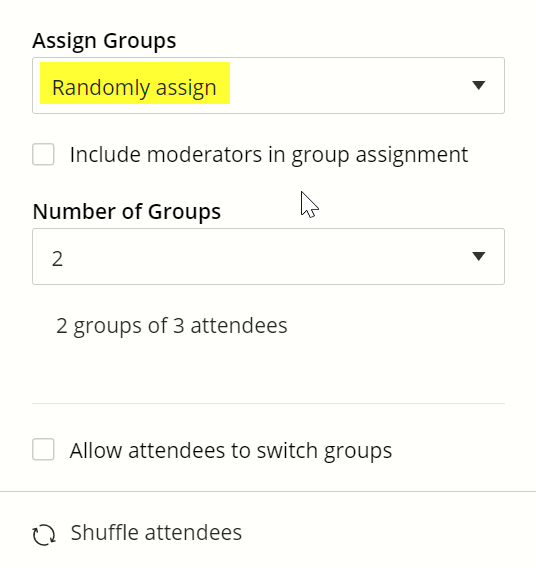 Random assignment is selected by default in the popup menu under the heading assign groups.
