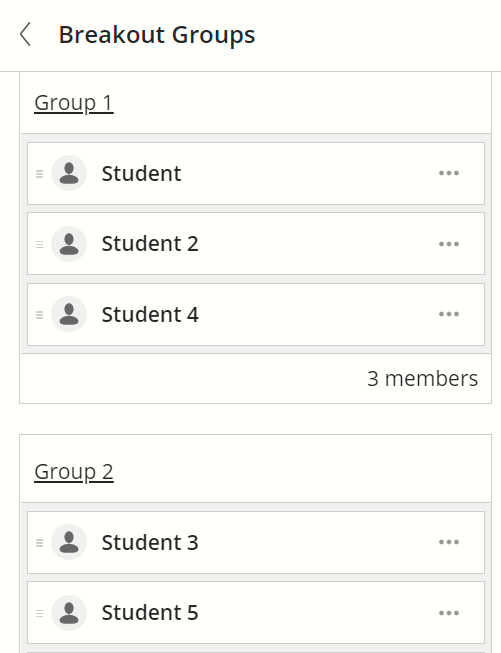 Groups are listed with numbered headings.
