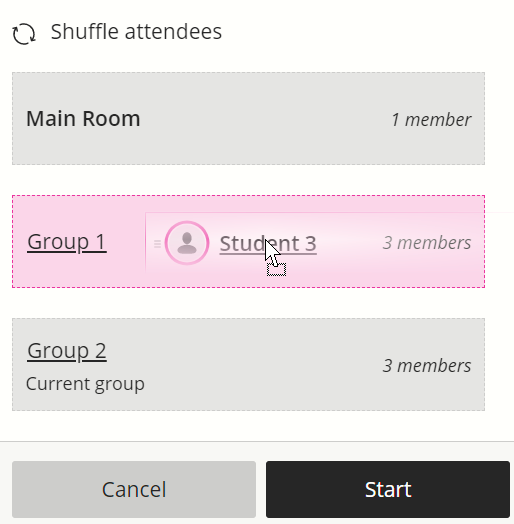 When dragging a participant name, the group headings become drop boxes.