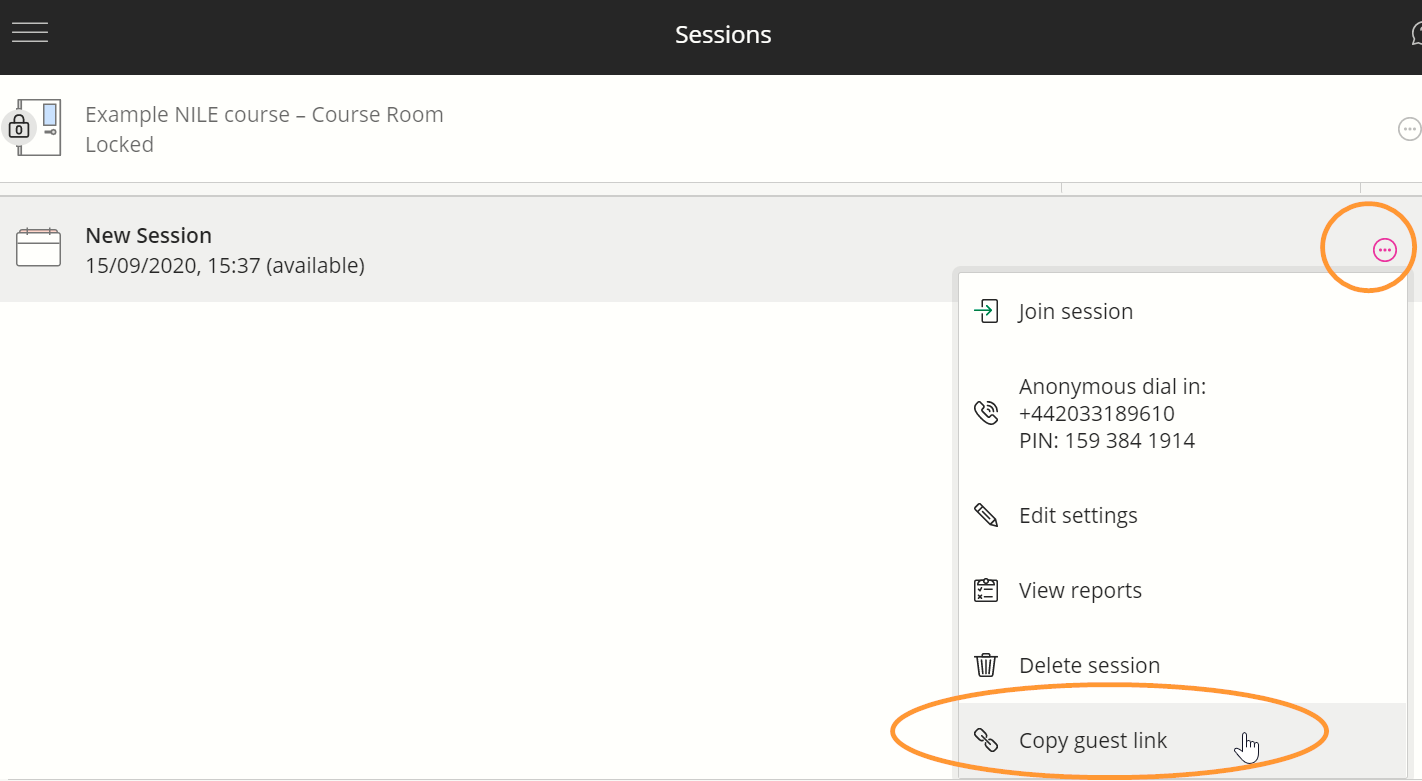 The contextual menu is a popup next to the session name