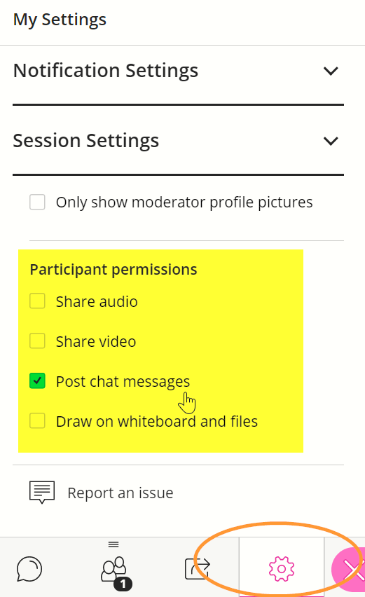 The permissions are displayed once you select the session settings internal link