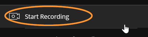 The option to start or stop a recording is the first item in the listed menu.