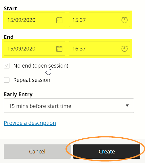 Dates and times can be typed directly into the input boxes instead of using the picker feature