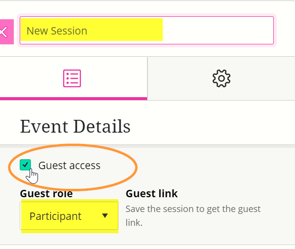 The guest role only shows on the page once the guest access checkbox is ticked.