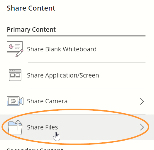 Share Files is the fourth option in the list