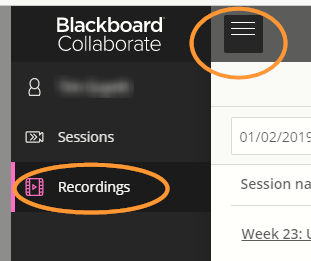 Collaborate recordings menu