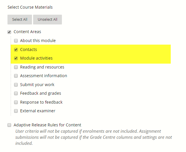The Contacts and Module activities options are within a nested list under content areas.