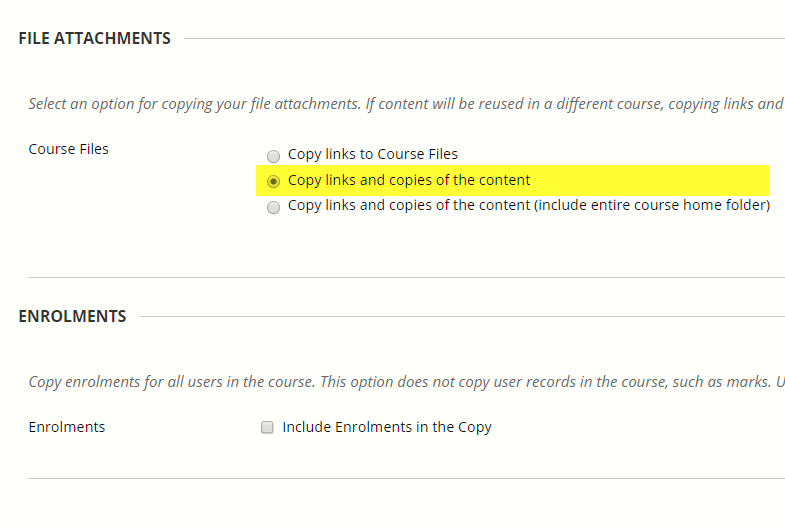 The next two sections headed File attachments and Enrolments can be skipped.
