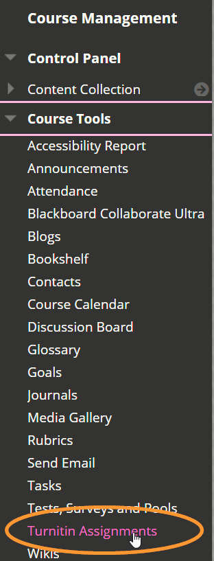The site tools menu is listed in alphabetical order. Turnitin Assignments is near the bottom of the list.
