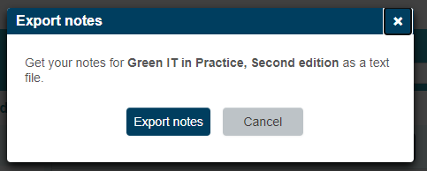 Pop up notice, click export notes