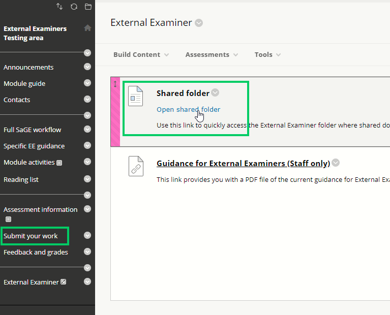 External examiner shared folder