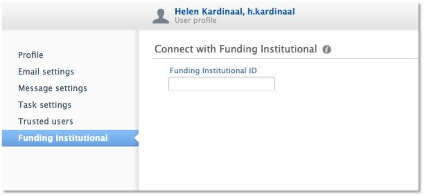 Connect with Funding Institutional page with box to paste in the code