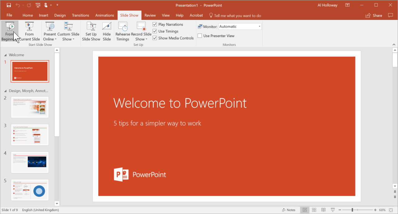 An image of PowerPoint showing the Slide Show options.