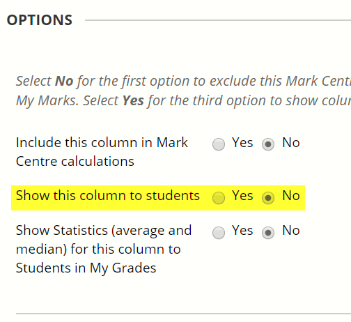 The option to hide the column from students is the second one listed under the Options heading on the page