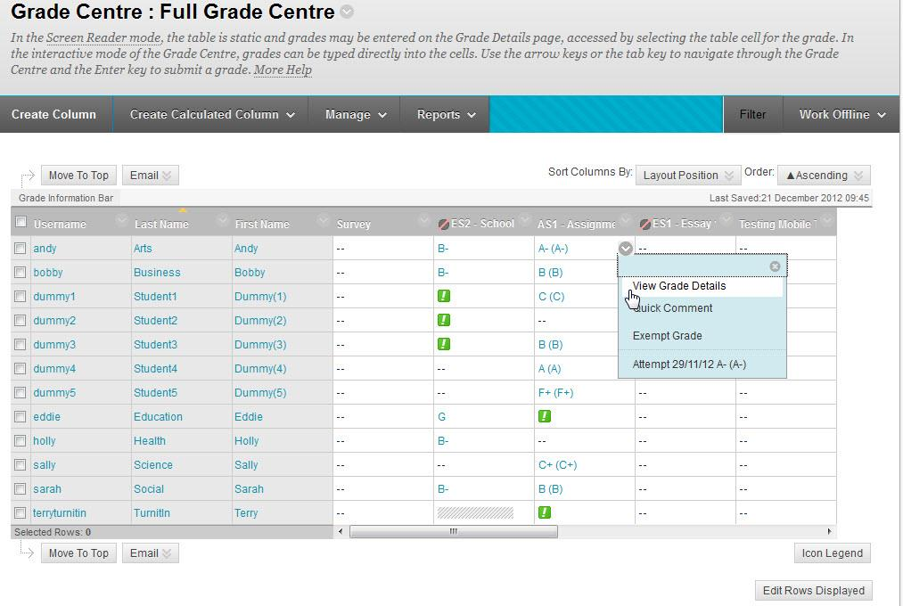 An example view of the full grade centre