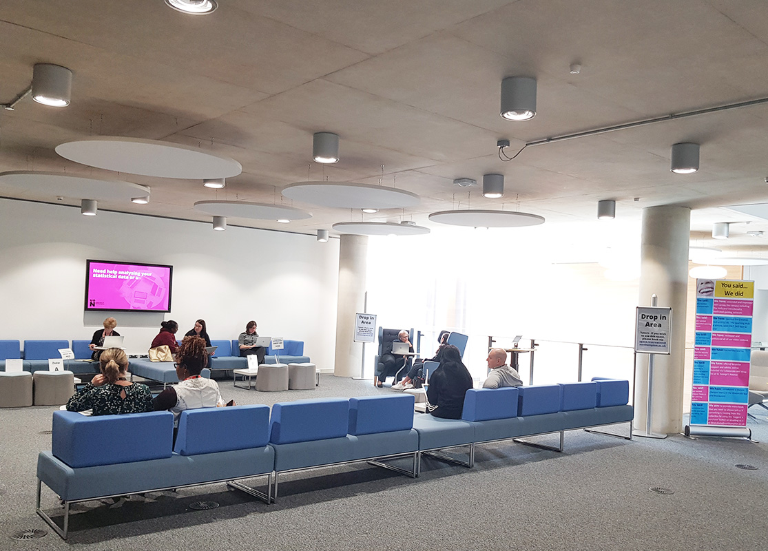 Drop-in area in the Learning Hub at Waterside Campus UoN