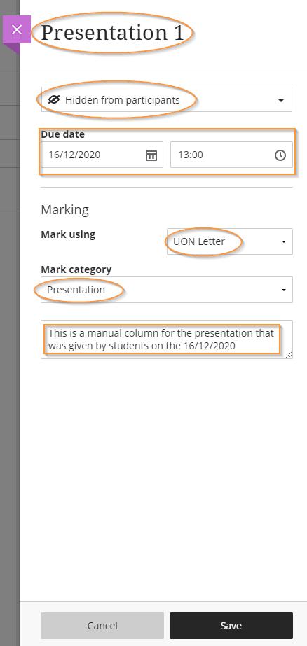 Manual grading column settings panel