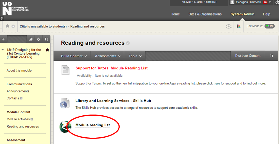 Module reading list icon on NILE