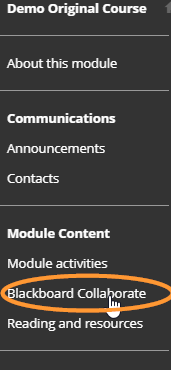 The Blackboard Collaborate link is usually underneath the Module Content heading