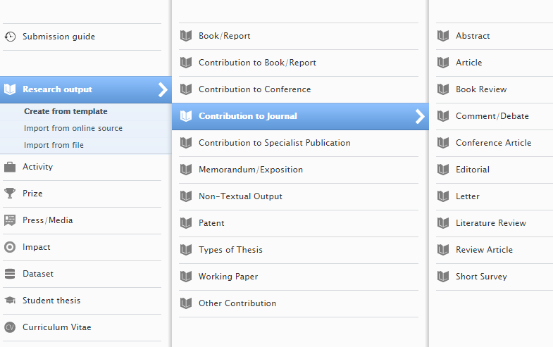 Research output option leading to contribute to journal