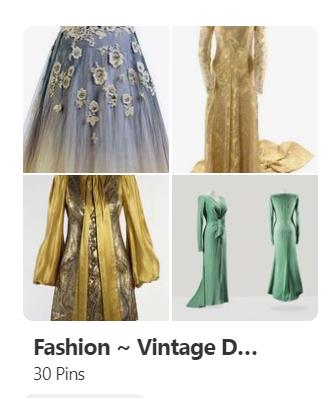 Four dress items in a Pinterest board