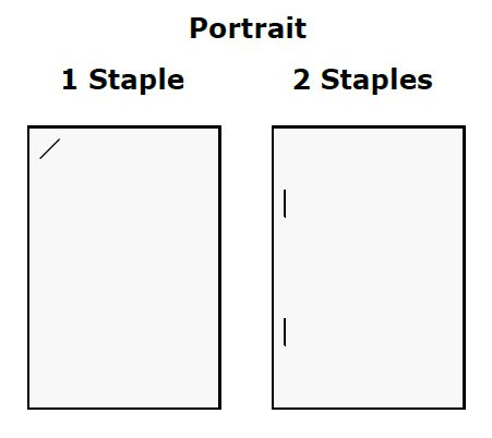 Staple locations on A4 portrait document.