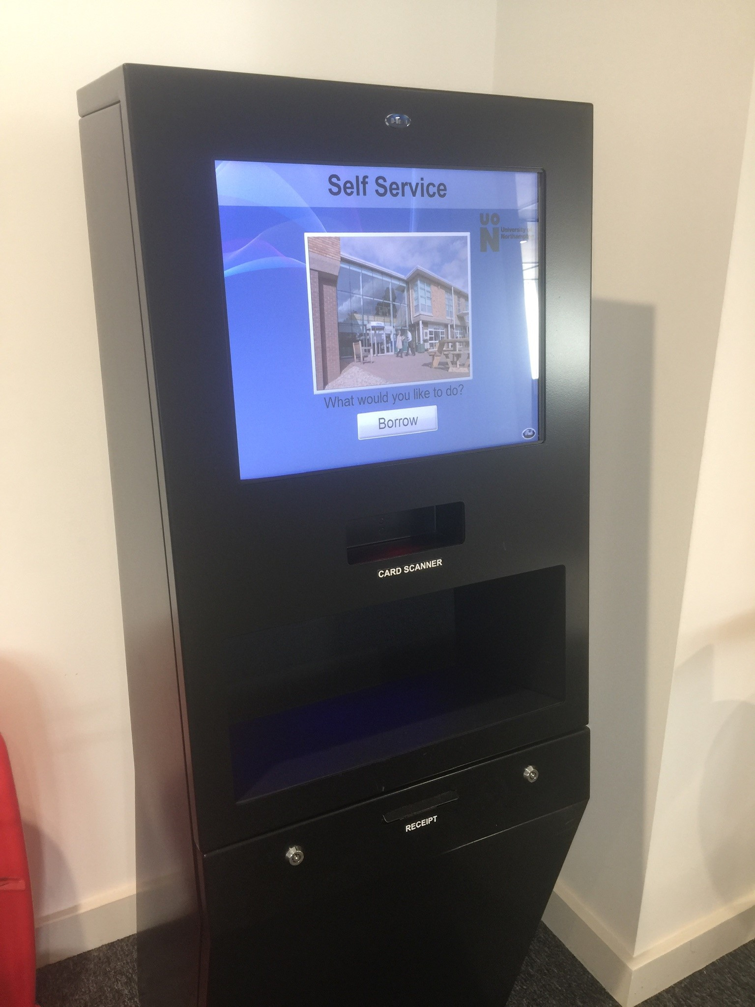 The library self-service machine on the Learning Hub third floor.