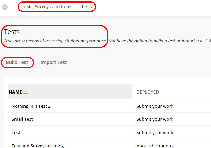 screenshot of Tests  with Tests and Build Test highlighted