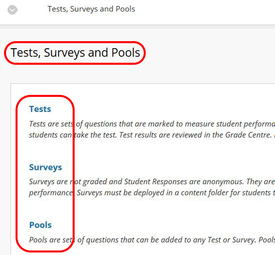 screenshot of Tests, Surveys and Pools section