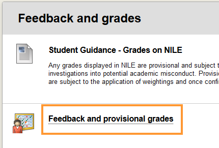 click Feedback and provisional grades