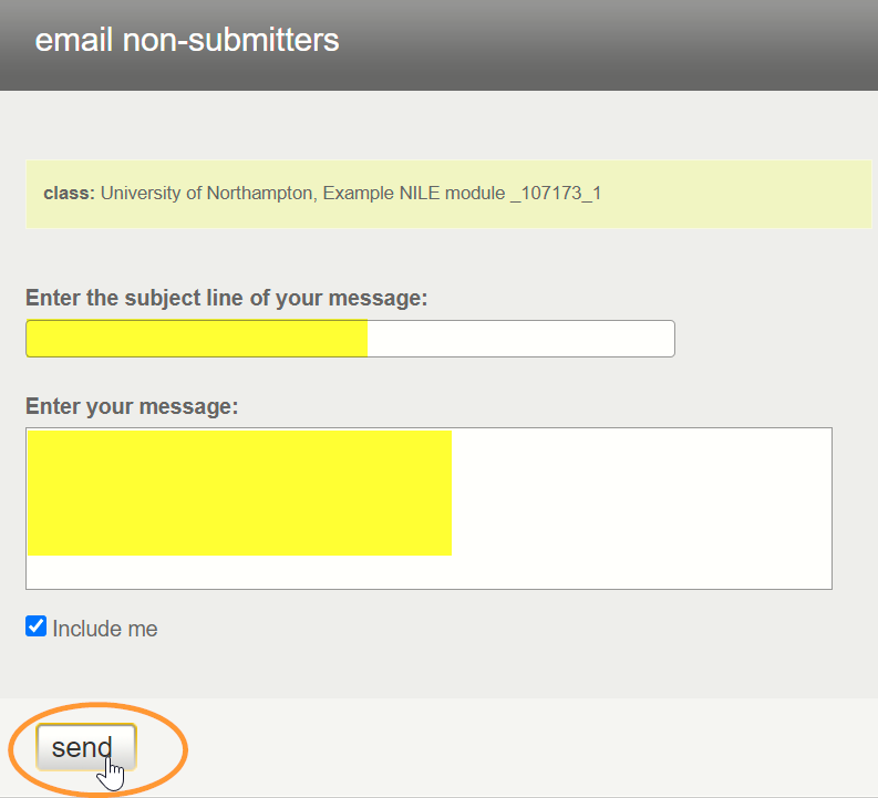The text entry boxes are for subject heading and the main message body