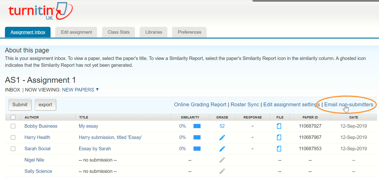 Find the email non-submitters link in the same menu as the roster sync link you have just used.
