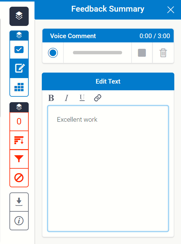 The feedback summary located in the side panel under the second button of the grademark section
