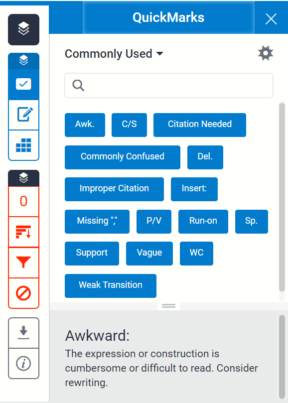The Quickmarks section is in the grademark side panel, represented as a tick icon.