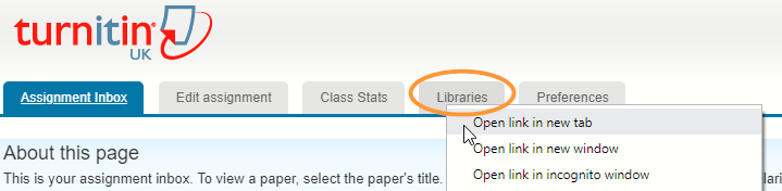 The libraries tab is the fourth link in the top menu of the Turnitin window.
