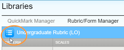 The alt text of the button is titled 'View available rubrics and rubric options'.