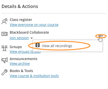 Blackboard Collaborate is the second heading in the Details & Actions menu.
