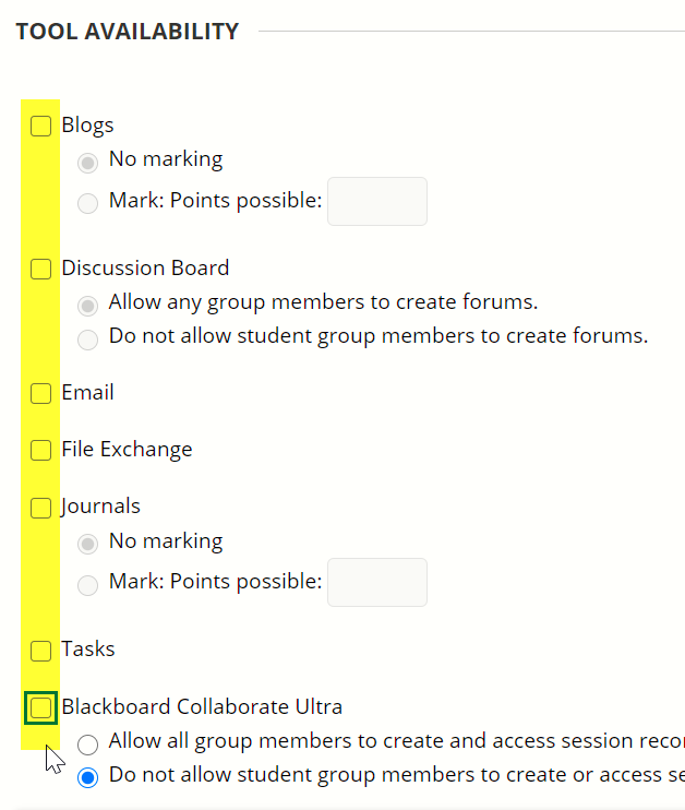 Each checkbox requires unticking individually.