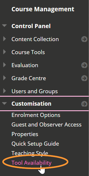 The course management menu is listed in alphabtical order.