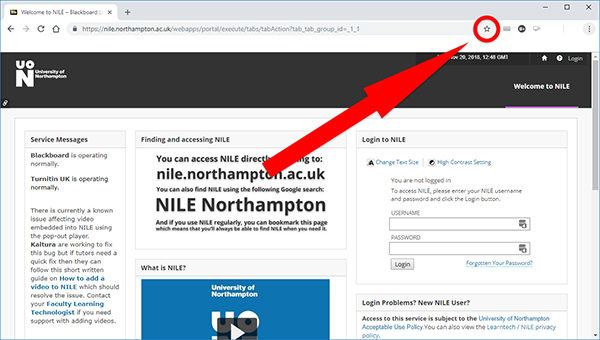 Bookmark NILE - click on the star in the URL bar